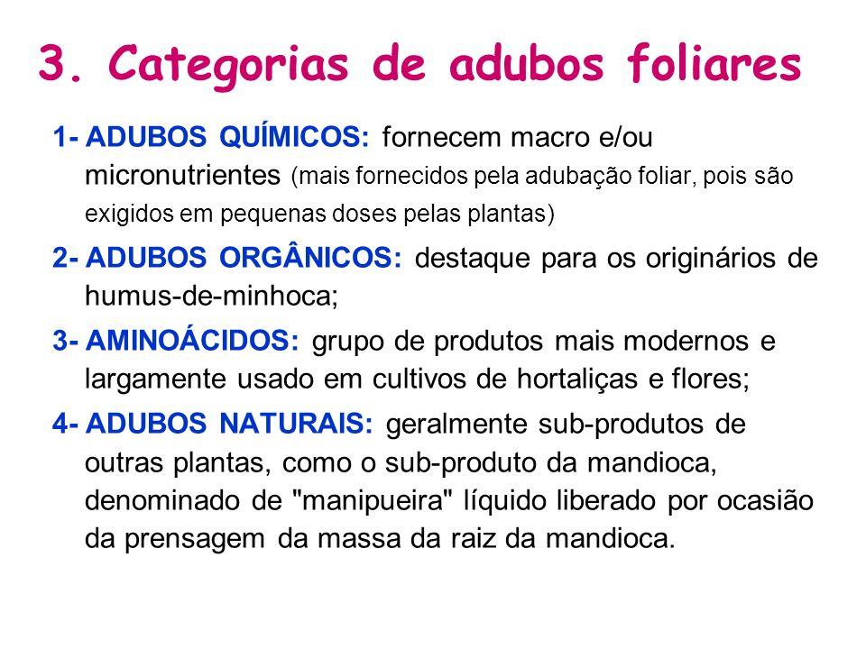 3. Categorias de adubos foliares 1- ADUBOS QUÍMICOS: fornecem macro e/ou micronutrientes (mais fornecidos pela adubação foliar, pois são exigidos em p