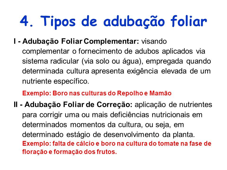 4. Tipos de adubação foliar I - Adubação Foliar Complementar: visando complementar o fornecimento de adubos aplicados via sistema radicular (via solo
