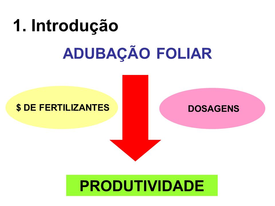 1. Introdução ADUBAÇÃO FOLIAR PRODUTIVIDADE DOSAGENS $ DE FERTILIZANTES