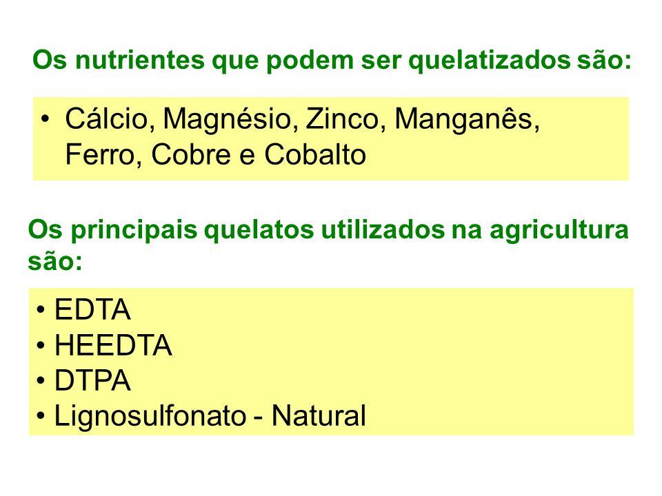 Os nutrientes que podem ser quelatizados são: Cálcio, Magnésio, Zinco, Manganês, Ferro, Cobre e Cobalto Os principais quelatos utilizados na agricultura são: EDTA HEEDTA DTPA Lignosulfonato - Natural
