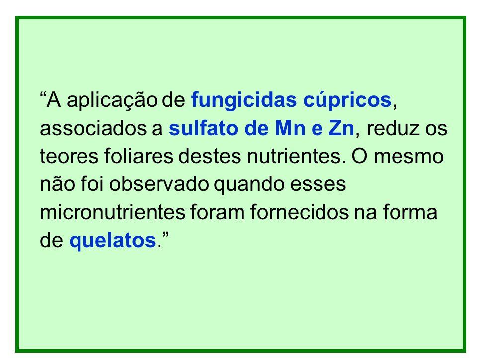 A aplicação de fungicidas cúpricos, associados a sulfato de Mn e Zn, reduz os teores foliares destes nutrientes. O mesmo não foi observado quando esse