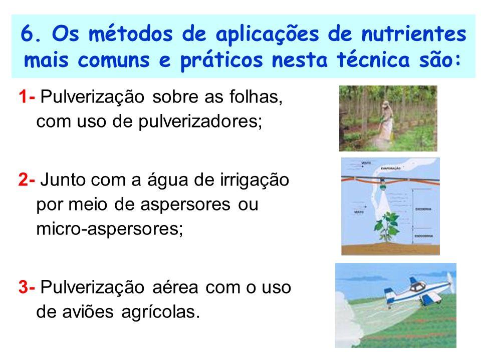 6. Os métodos de aplicações de nutrientes mais comuns e práticos nesta técnica são: 1- Pulverização sobre as folhas, com uso de pulverizadores; 2- Jun