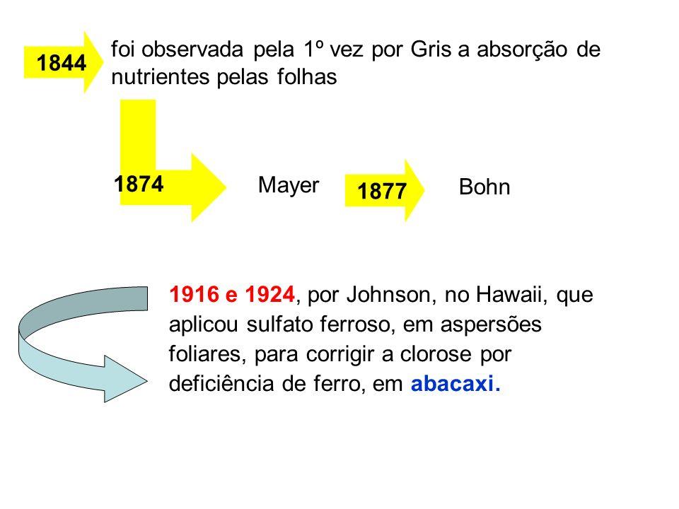foi observada pela 1º vez por Gris a absorção de nutrientes pelas folhas 1916 e 1924, por Johnson, no Hawaii, que aplicou sulfato ferroso, em aspersõe