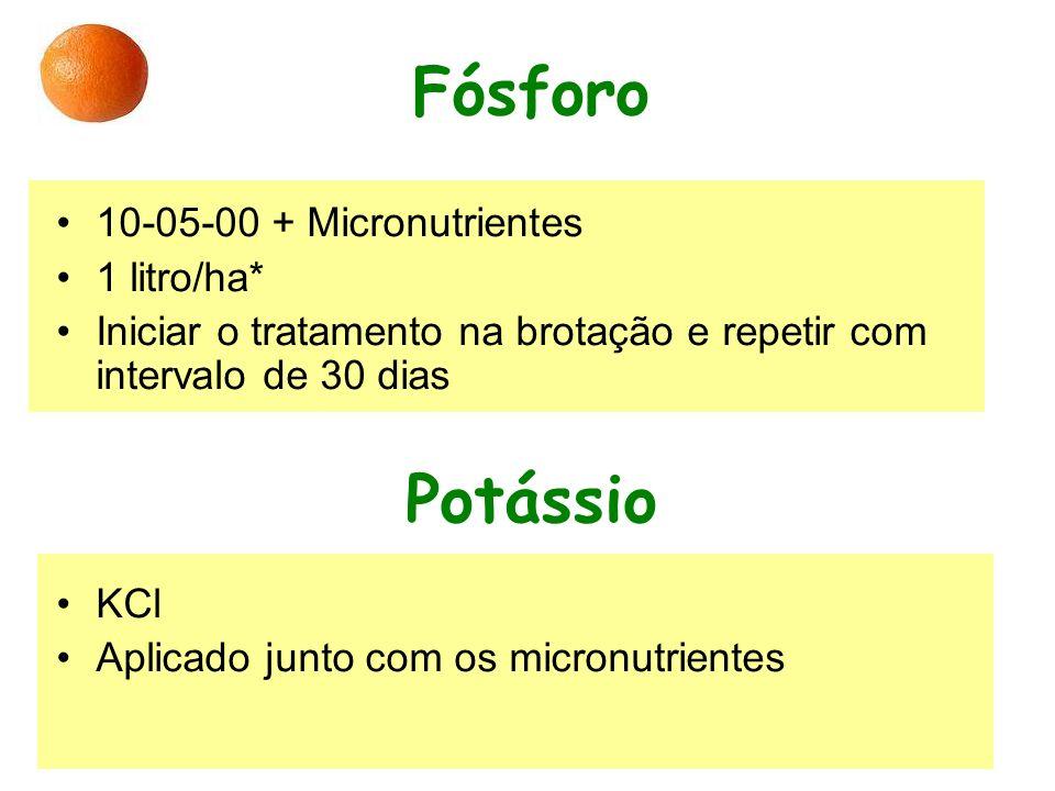 Fósforo 10-05-00 + Micronutrientes 1 litro/ha* Iniciar o tratamento na brotação e repetir com intervalo de 30 dias Potássio KCl Aplicado junto com os micronutrientes