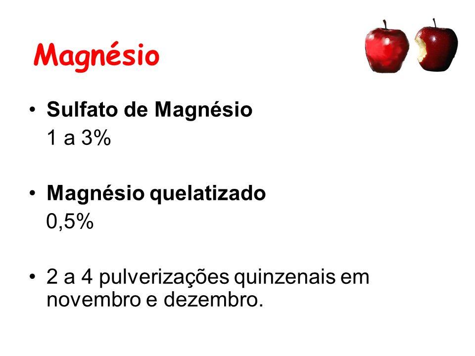 Magnésio Sulfato de Magnésio 1 a 3% Magnésio quelatizado 0,5% 2 a 4 pulverizações quinzenais em novembro e dezembro.