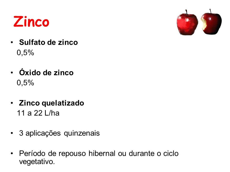Zinco Sulfato de zinco 0,5% Óxido de zinco 0,5% Zinco quelatizado 11 a 22 L/ha 3 aplicações quinzenais Período de repouso hibernal ou durante o ciclo