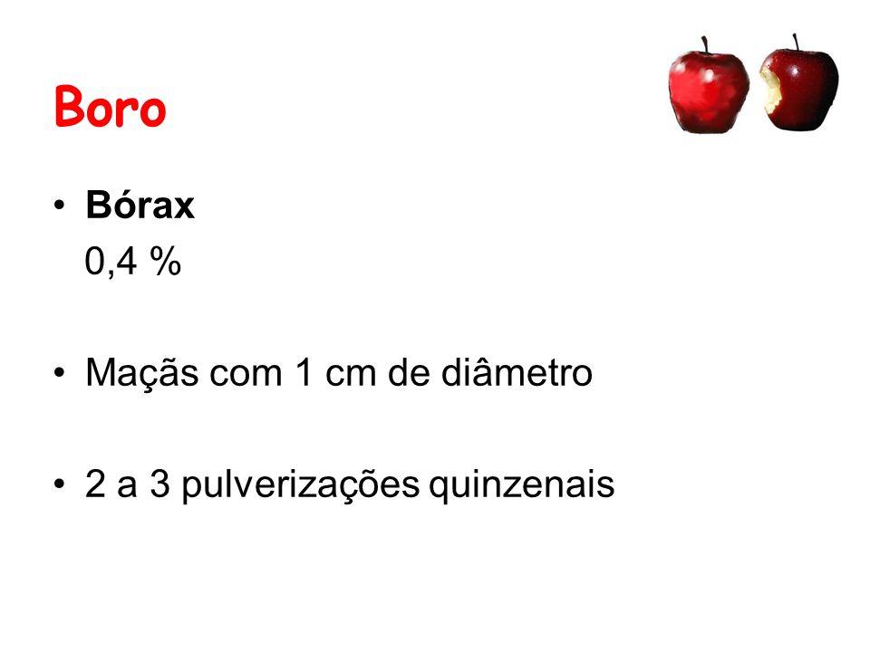 Boro Bórax 0,4 % Maçãs com 1 cm de diâmetro 2 a 3 pulverizações quinzenais