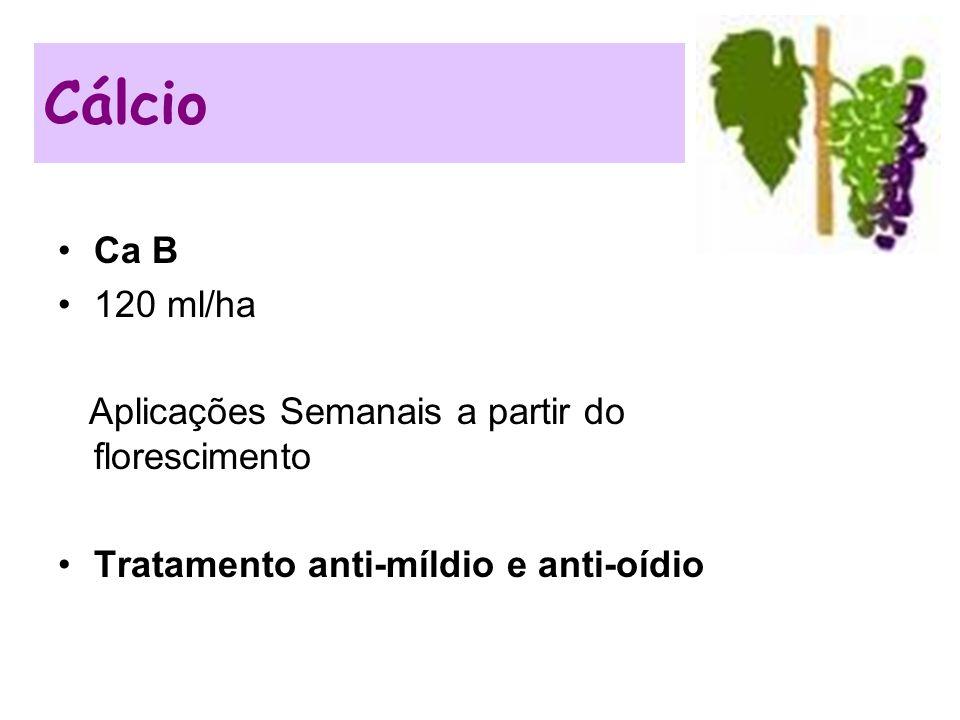 Ca B 120 ml/ha Aplicações Semanais a partir do florescimento Tratamento anti-míldio e anti-oídio Cálcio