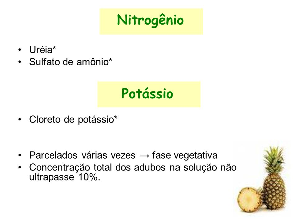Nitrogênio Uréia* Sulfato de amônio* Potássio Cloreto de potássio* Parcelados várias vezes fase vegetativa Concentração total dos adubos na solução não ultrapasse 10%.