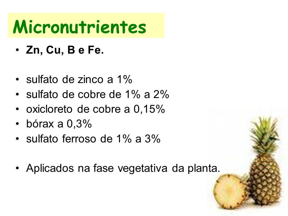 Micronutrientes Zn, Cu, B e Fe. sulfato de zinco a 1% sulfato de cobre de 1% a 2% oxicloreto de cobre a 0,15% bórax a 0,3% sulfato ferroso de 1% a 3%