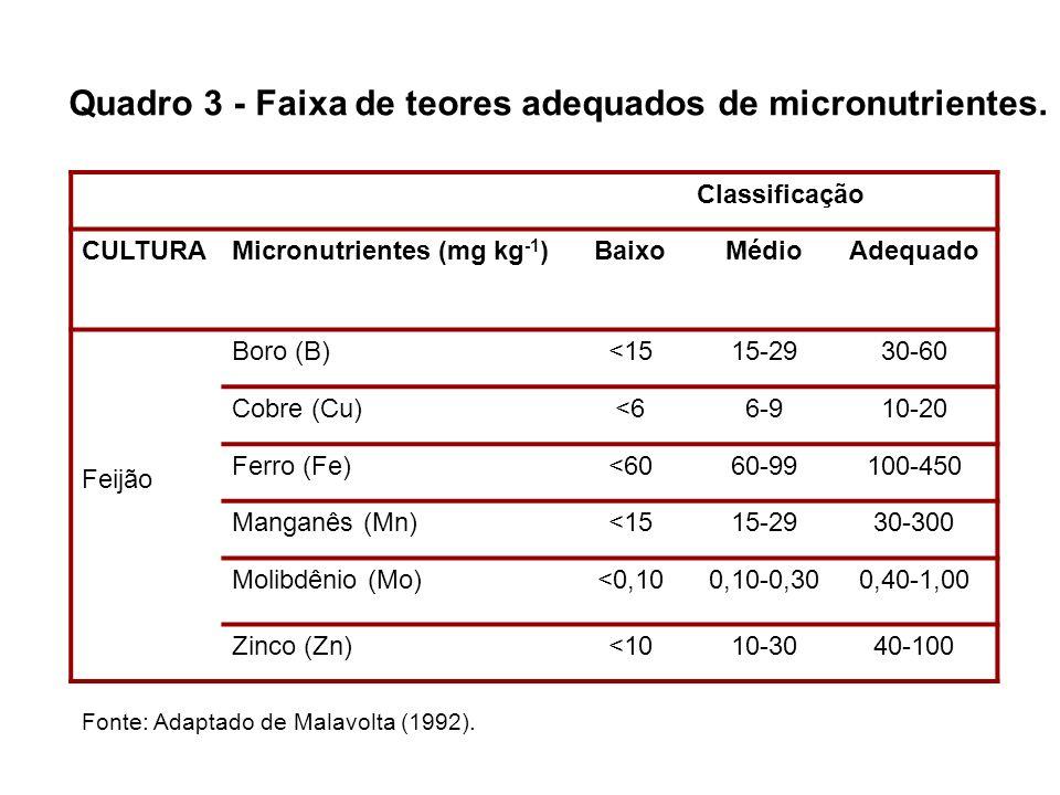 Classificação CULTURAMicronutrientes (mg kg -1 )BaixoMédioAdequado Feijão Boro (B)<1515-2930-60 Cobre (Cu)<66-910-20 Ferro (Fe)<6060-99100-450 Manganê