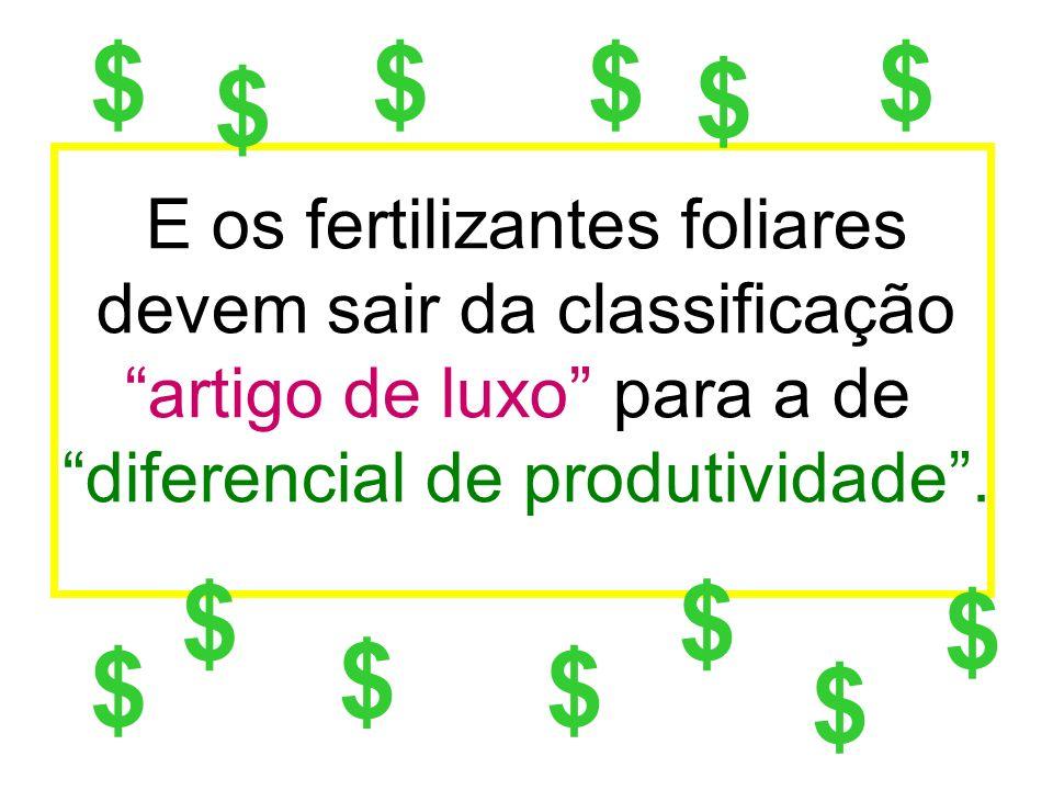 E os fertilizantes foliares devem sair da classificação artigo de luxo para a de diferencial de produtividade. $ $ $$$ $ $ $ $$ $ $ $