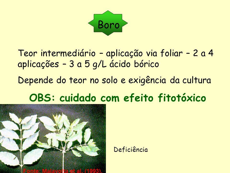 Boro Teor intermediário – aplicação via foliar – 2 a 4 aplicações – 3 a 5 g/L ácido bórico Depende do teor no solo e exigência da cultura OBS: cuidado