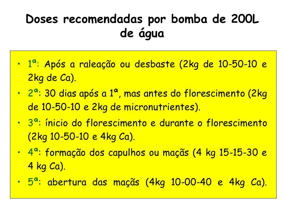 Doses recomendadas por bomba de 200L de água 1ª: Após a raleação ou desbaste (2kg de 10-50-10 e 2kg de Ca). 2ª: 30 dias após a 1ª, mas antes do flores