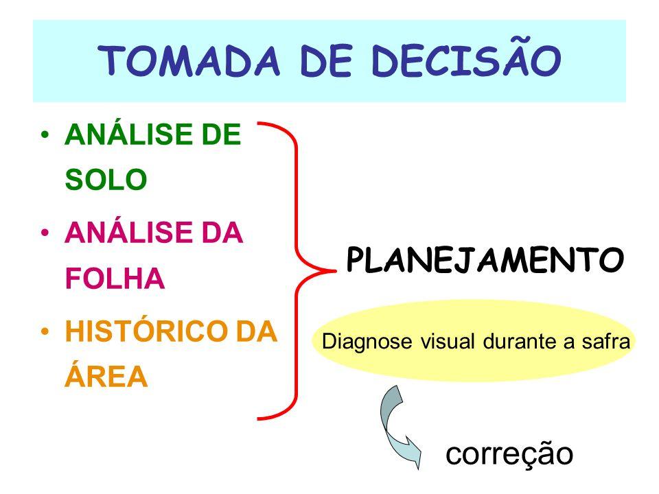TOMADA DE DECISÃO ANÁLISE DE SOLO ANÁLISE DA FOLHA HISTÓRICO DA ÁREA PLANEJAMENTO Diagnose visual durante a safra correção
