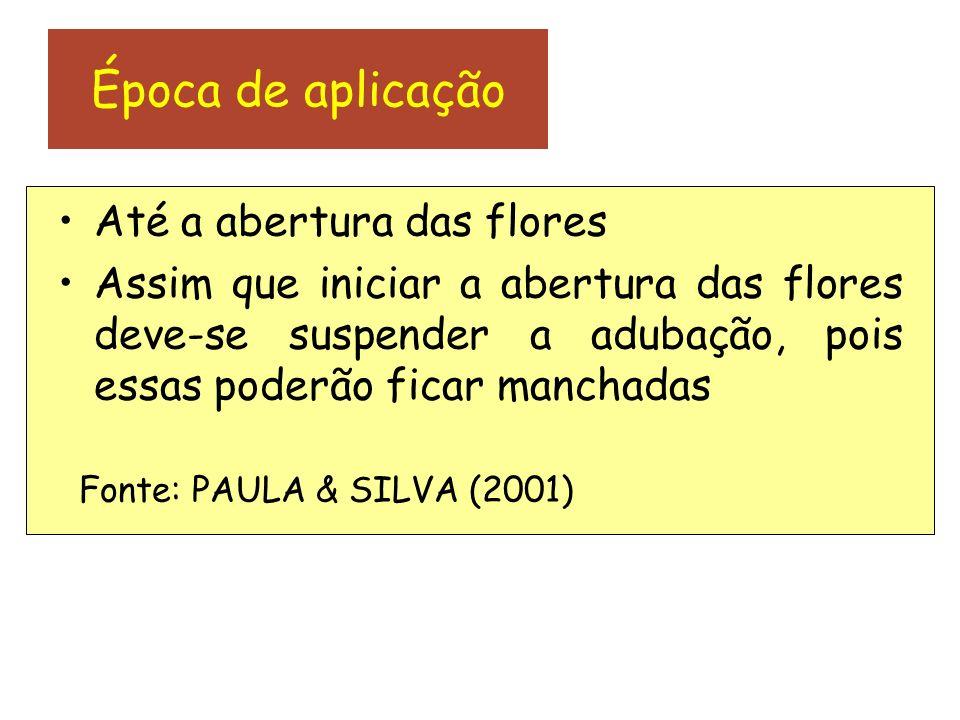 Época de aplicação Até a abertura das flores Assim que iniciar a abertura das flores deve-se suspender a adubação, pois essas poderão ficar manchadas Fonte: PAULA & SILVA (2001)