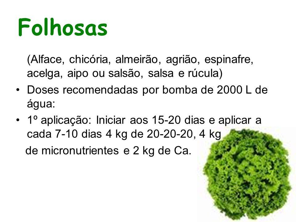 Folhosas (Alface, chicória, almeirão, agrião, espinafre, acelga, aipo ou salsão, salsa e rúcula) Doses recomendadas por bomba de 2000 L de água: 1º ap