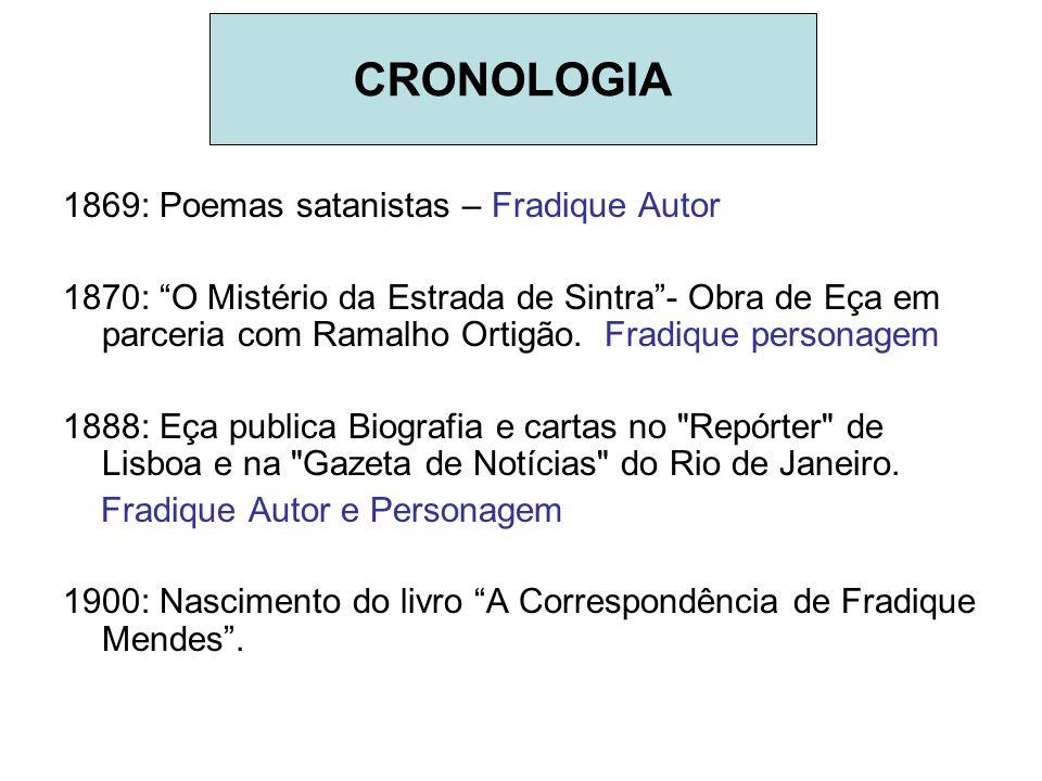 1869: Poemas satanistas – Fradique Autor 1870: O Mistério da Estrada de Sintra- Obra de Eça em parceria com Ramalho Ortigão. Fradique personagem 1888: