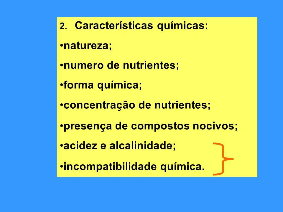 2. Características químicas: natureza; numero de nutrientes; forma química; concentração de nutrientes; presença de compostos nocivos; acidez e alcali