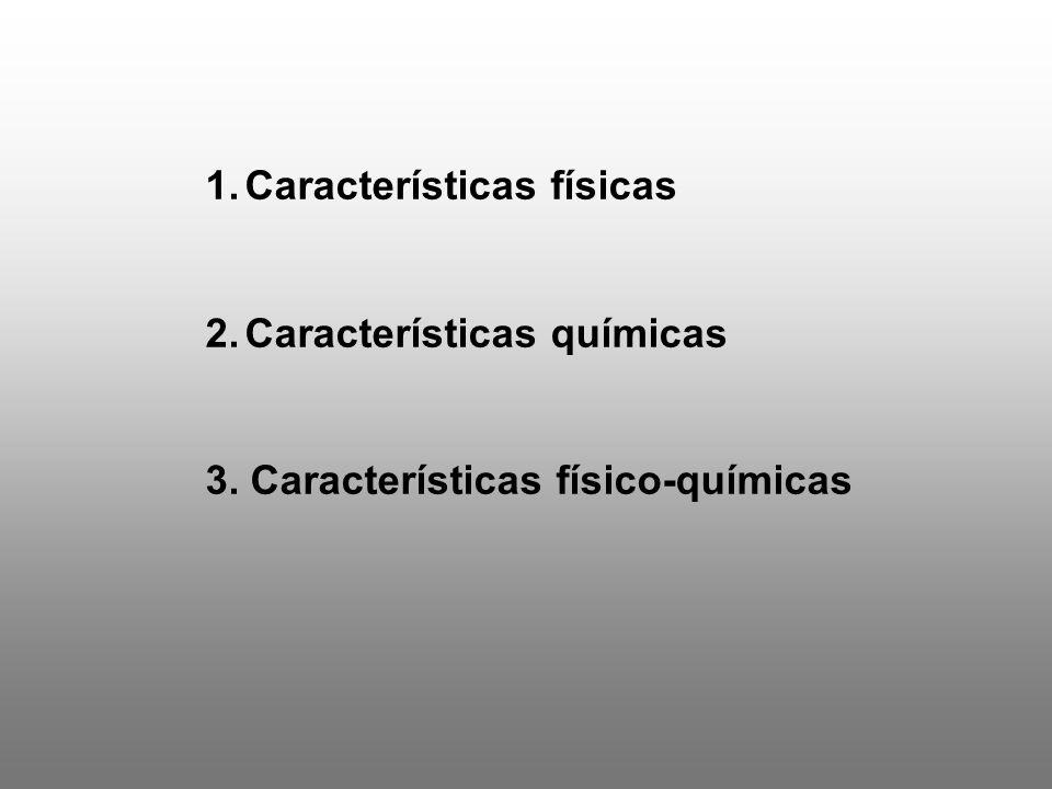 1.Características físicas 2.Características químicas 3. Características físico-químicas