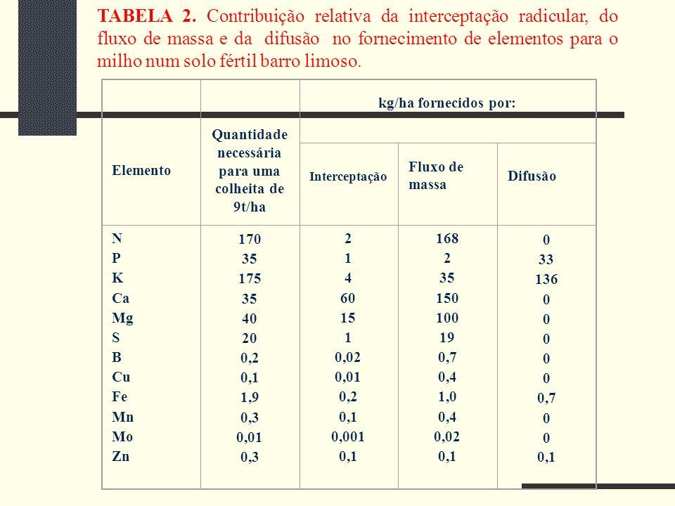 TABELA 2. Contribuição relativa da interceptação radicular, do fluxo de massa e da difusão no fornecimento de elementos para o milho num solo fértil b