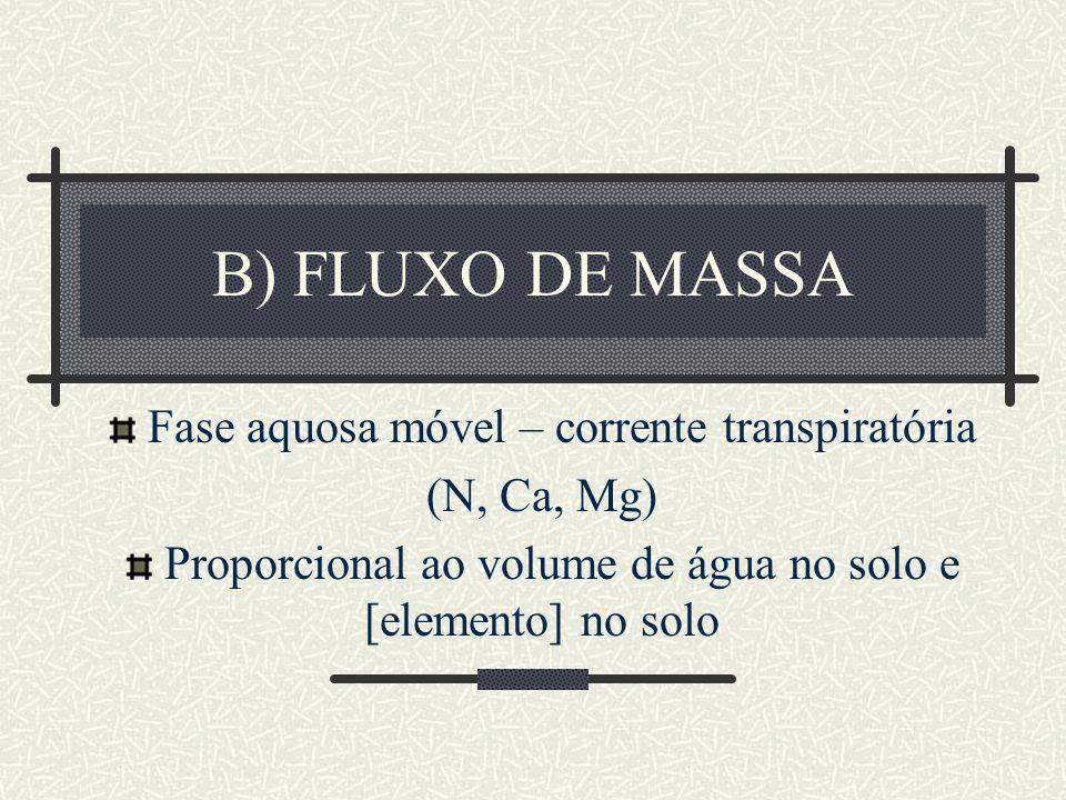 B) FLUXO DE MASSA Fase aquosa móvel – corrente transpiratória (N, Ca, Mg) Proporcional ao volume de água no solo e [elemento] no solo