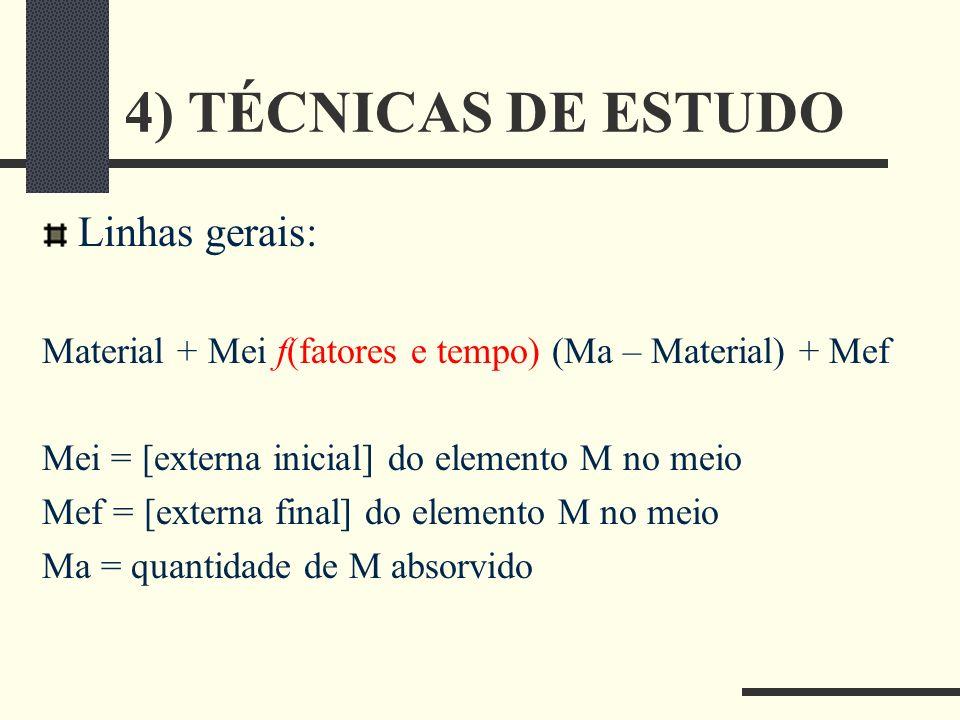 4) TÉCNICAS DE ESTUDO Linhas gerais: Material + Mei f(fatores e tempo) (Ma – Material) + Mef Mei = [externa inicial] do elemento M no meio Mef = [exte