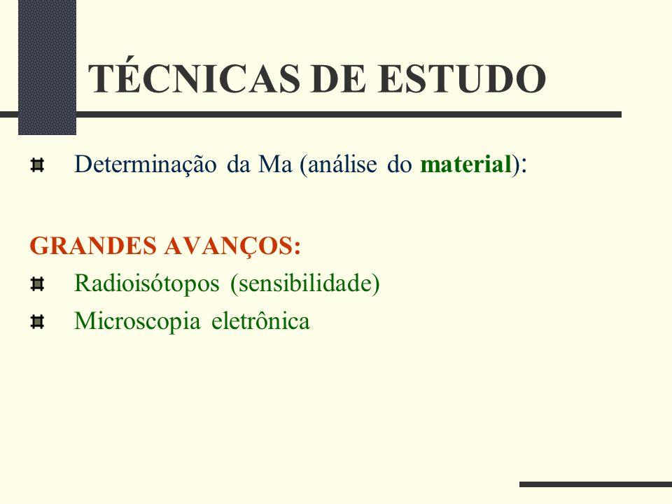 TÉCNICAS DE ESTUDO Determinação da Ma (análise do material) : GRANDES AVANÇOS: Radioisótopos (sensibilidade) Microscopia eletrônica