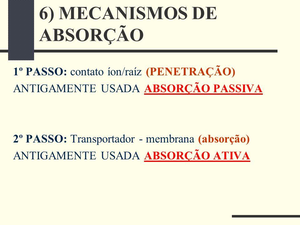6) MECANISMOS DE ABSORÇÃO 1º PASSO: contato íon/raíz (PENETRAÇÃO) ANTIGAMENTE USADA ABSORÇÃO PASSIVA 2º PASSO: Transportador - membrana (absorção) ANT