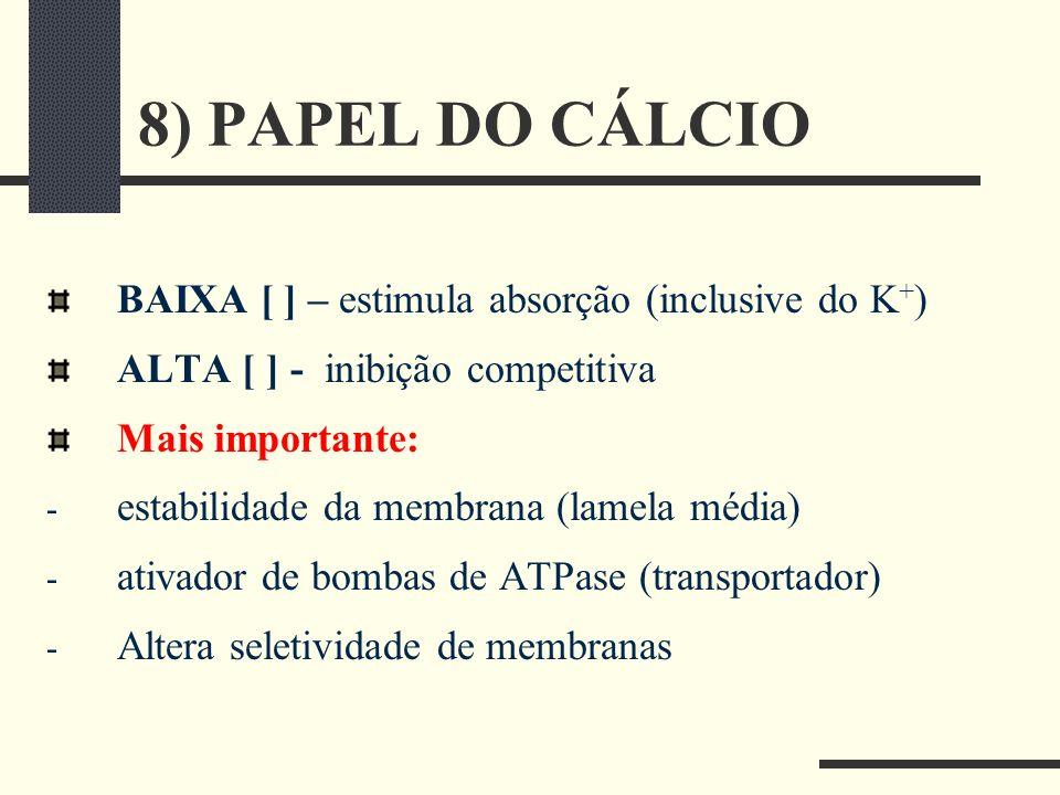 8) PAPEL DO CÁLCIO BAIXA [ ] – estimula absorção (inclusive do K + ) ALTA [ ] - inibição competitiva Mais importante: - estabilidade da membrana (lame