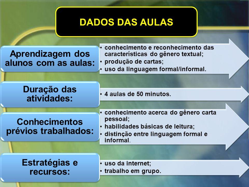 DADOS DAS AULAS