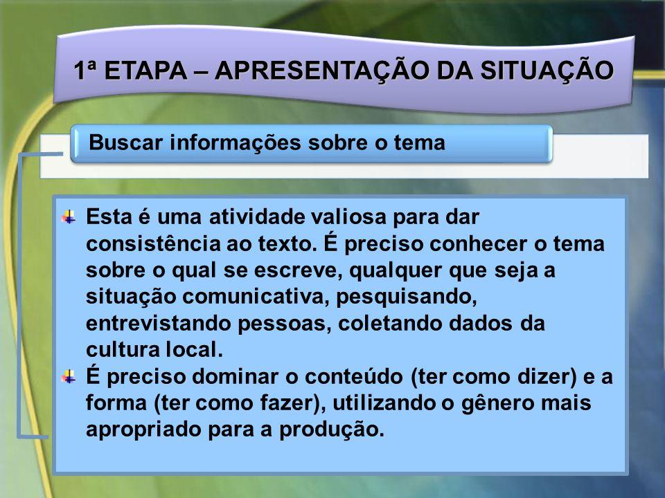 1ª ETAPA – APRESENTAÇÃO DA SITUAÇÃO Buscar informações sobre o tema Esta é uma atividade valiosa para dar consistência ao texto.