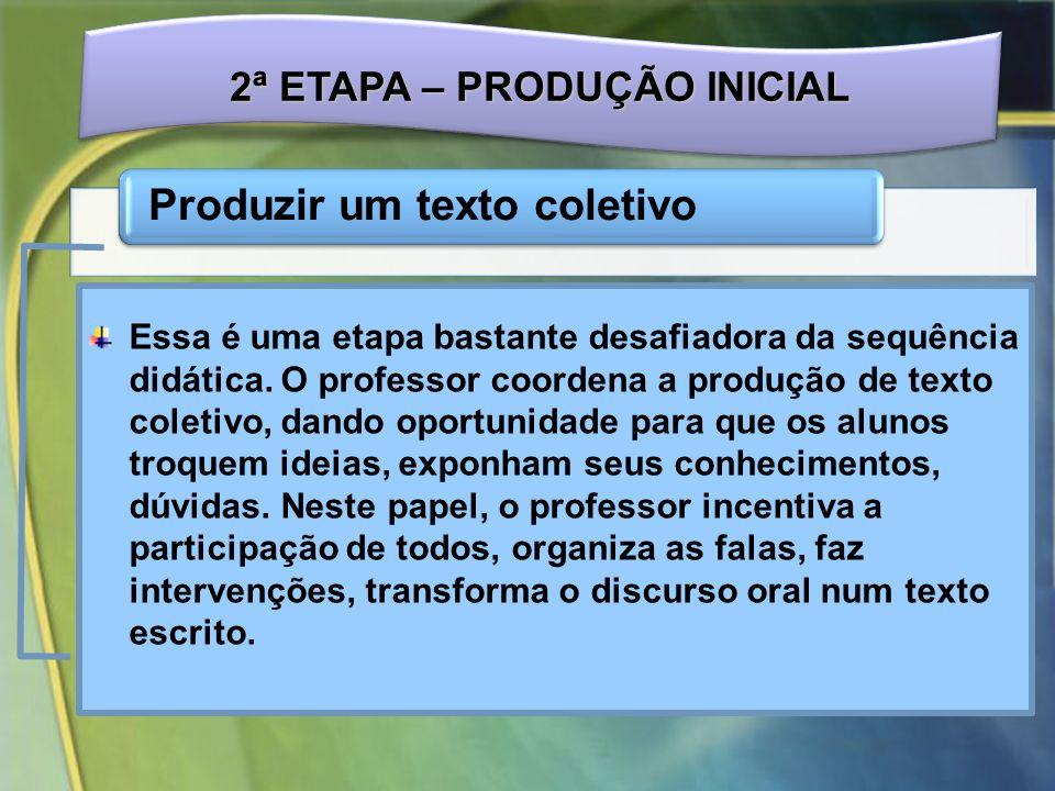 2ª ETAPA – PRODUÇÃO INICIAL Produzir um texto coletivo Essa é uma etapa bastante desafiadora da sequência didática.