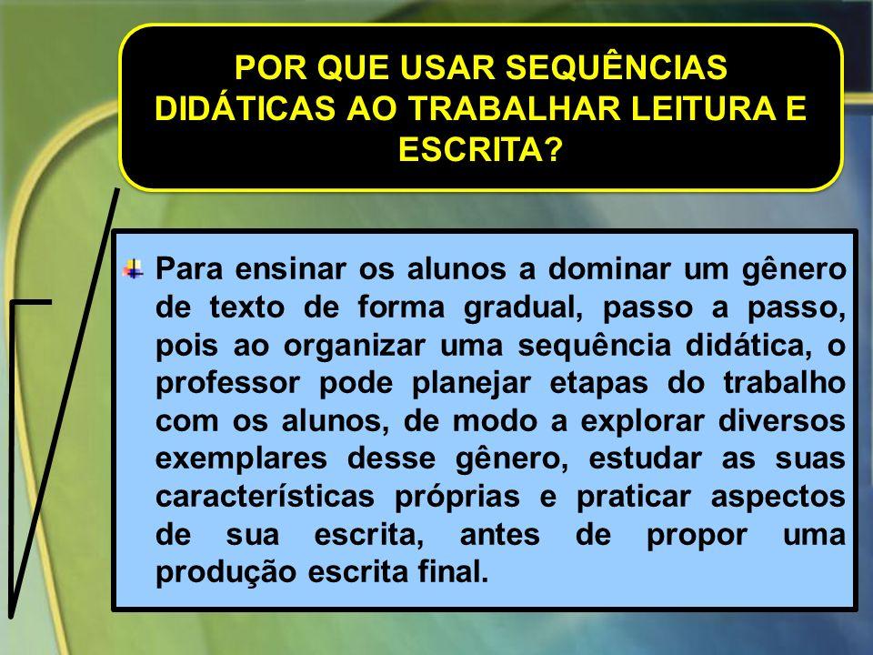 EXEMPLIFICANDO COM UMA SEQUÊNCIA DIDÁTICA DESENVOLVIDA GÊNERO TEXTUAL: CARTA PESSOAL