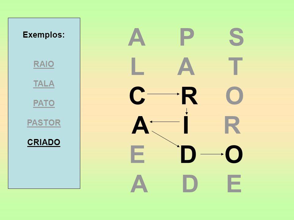 A P S L A T C R O A I R E D O A D E Exemplos: RAIO TALA PATO PASTOR CRIADO