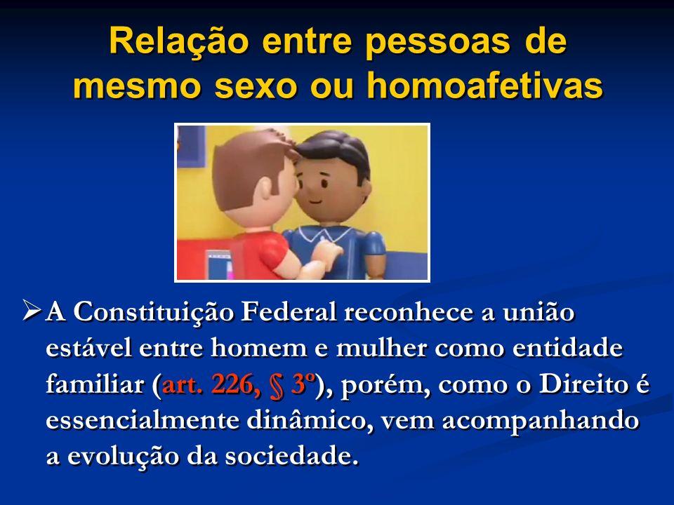 Relação entre pessoas de mesmo sexo ou homoafetivas A Constituição Federal reconhece a união estável entre homem e mulher como entidade familiar (art.