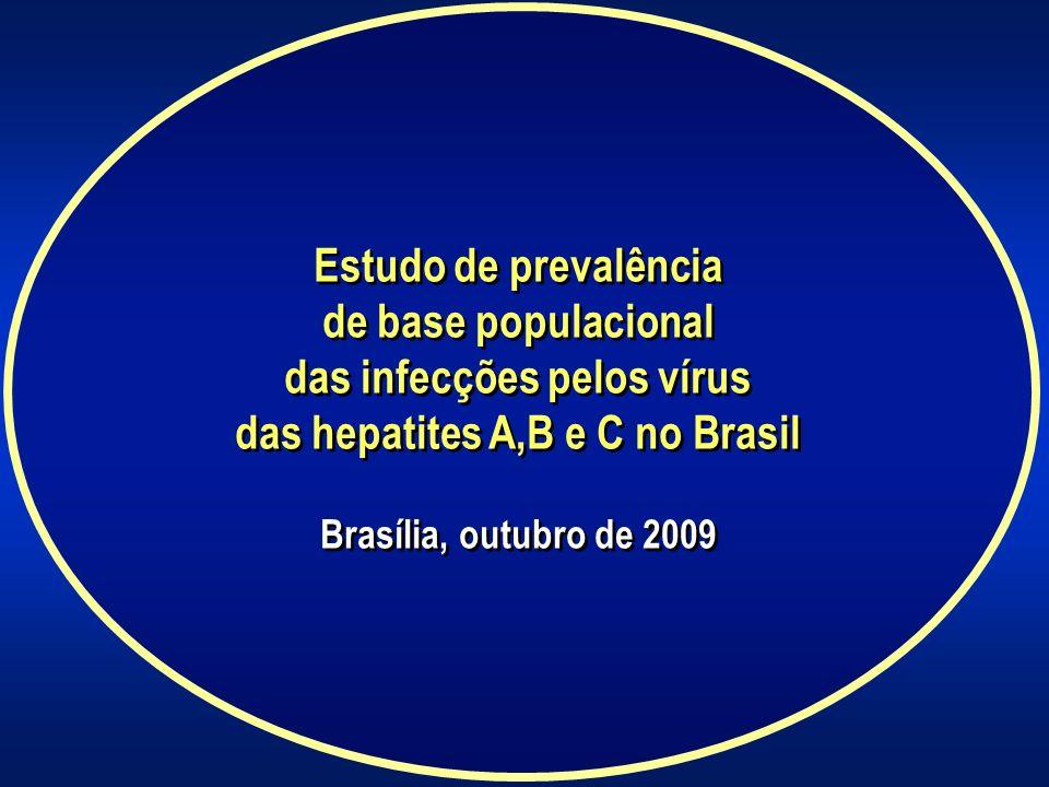 Estudo de prevalência de base populacional das infecções pelos vírus das hepatites A,B e C no Brasil Brasília, outubro de 2009 Estudo de prevalência d