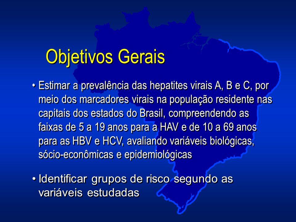 Estimar a prevalência das hepatites virais A, B e C, por meio dos marcadores virais na população residente nas capitais dos estados do Brasil, compree