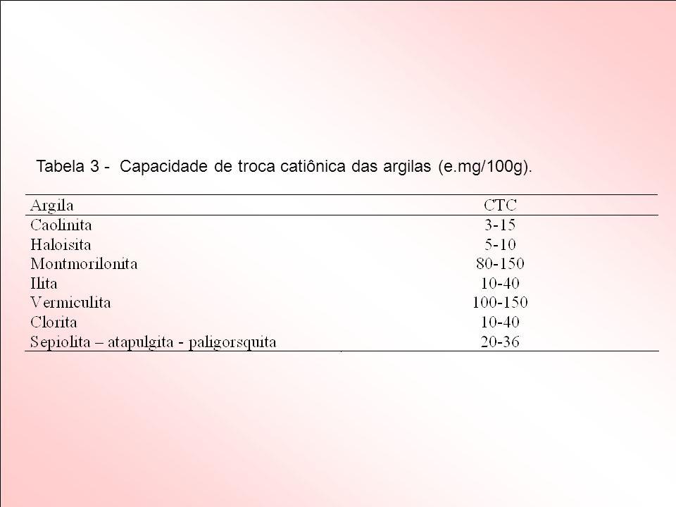 Tabela 3 - Capacidade de troca catiônica das argilas (e.mg/100g).