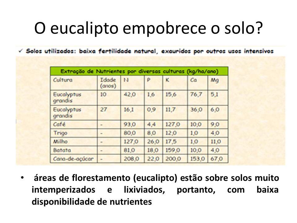 O eucalipto empobrece o solo? áreas de florestamento (eucalipto) estão sobre solos muito intemperizados e lixiviados, portanto, com baixa disponibilid