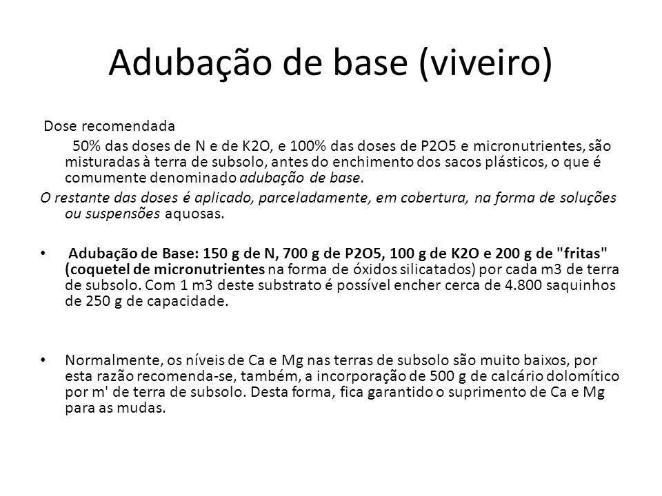 Adubação de base (viveiro) Dose recomendada 50% das doses de N e de K2O, e 100% das doses de P2O5 e micronutrientes, são misturadas à terra de subsolo