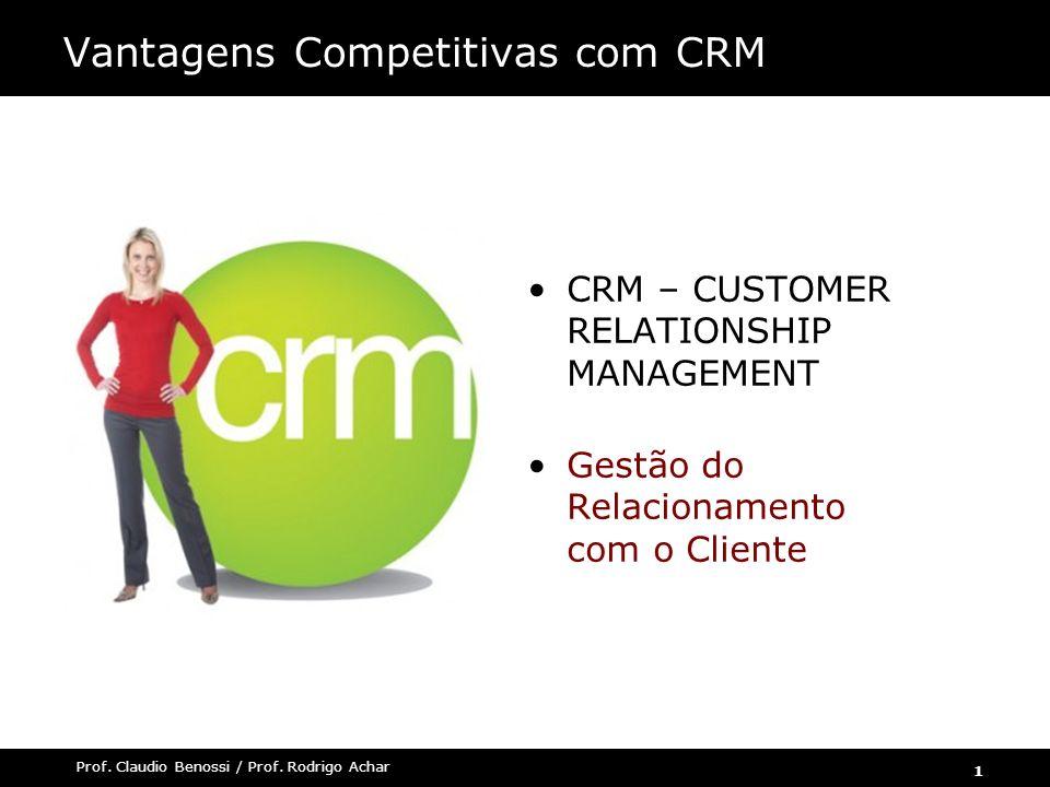 1 Prof. Claudio Benossi / Prof. Rodrigo Achar Vantagens Competitivas com CRM CRM – CUSTOMER RELATIONSHIP MANAGEMENT Gestão do Relacionamento com o Cli