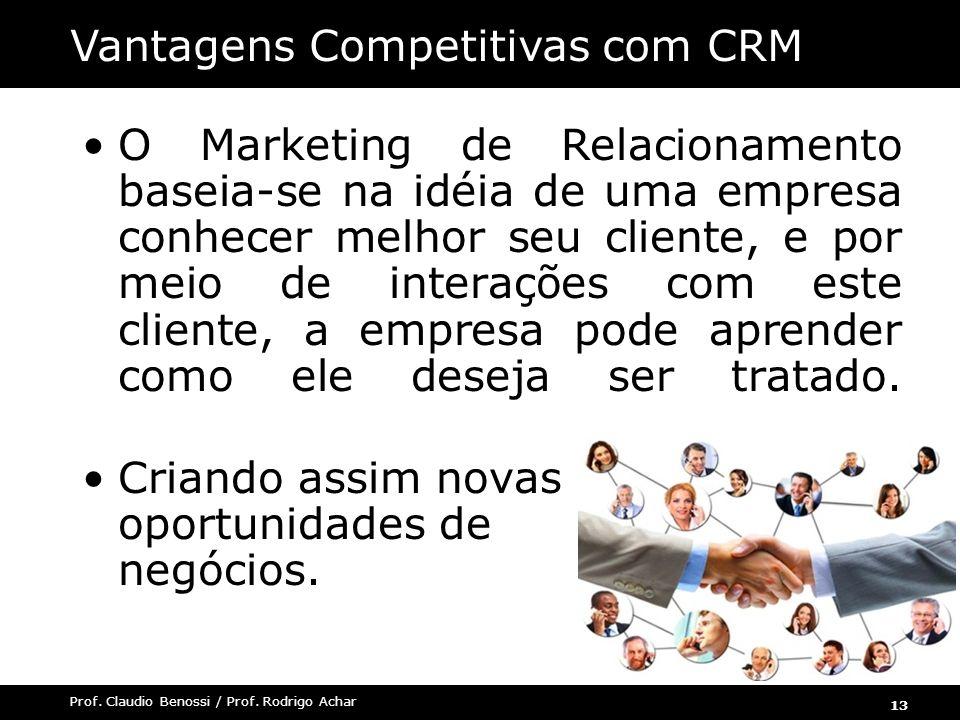 13 Prof. Claudio Benossi / Prof. Rodrigo Achar O Marketing de Relacionamento baseia-se na idéia de uma empresa conhecer melhor seu cliente, e por meio