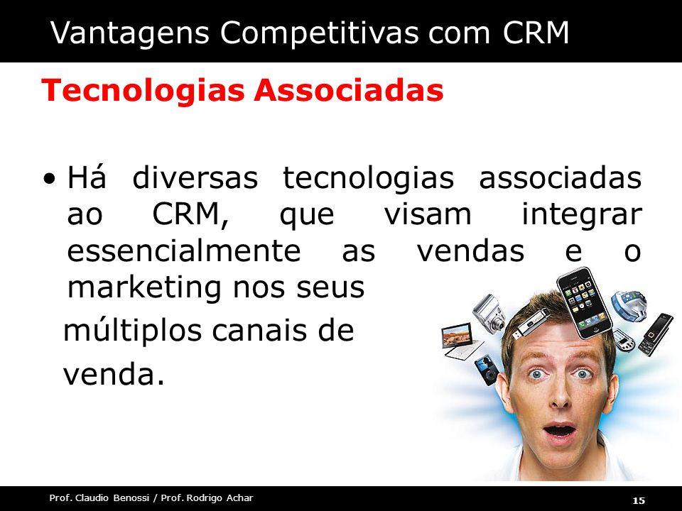 15 Prof. Claudio Benossi / Prof. Rodrigo Achar Tecnologias Associadas Há diversas tecnologias associadas ao CRM, que visam integrar essencialmente as