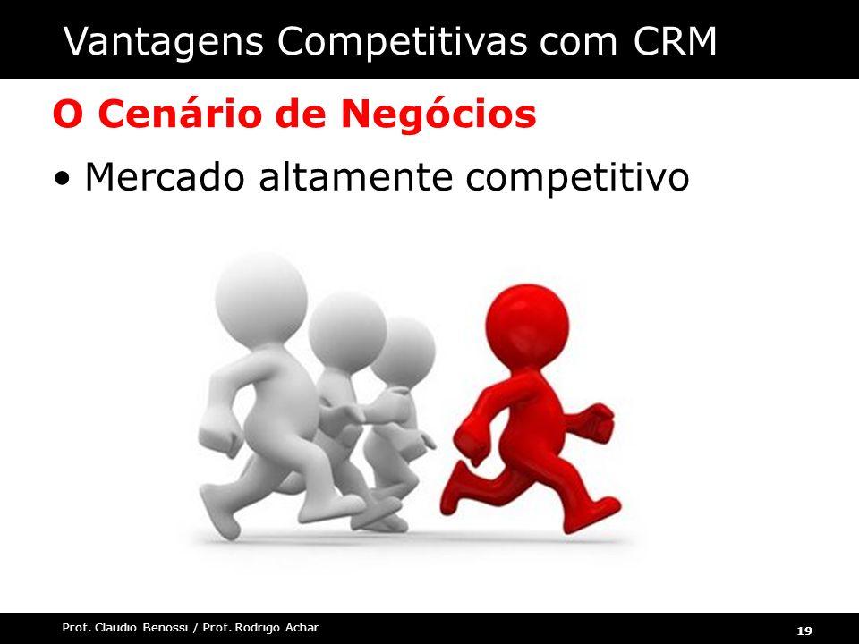19 Prof. Claudio Benossi / Prof. Rodrigo Achar O Cenário de Negócios Mercado altamente competitivo Vantagens Competitivas com CRM