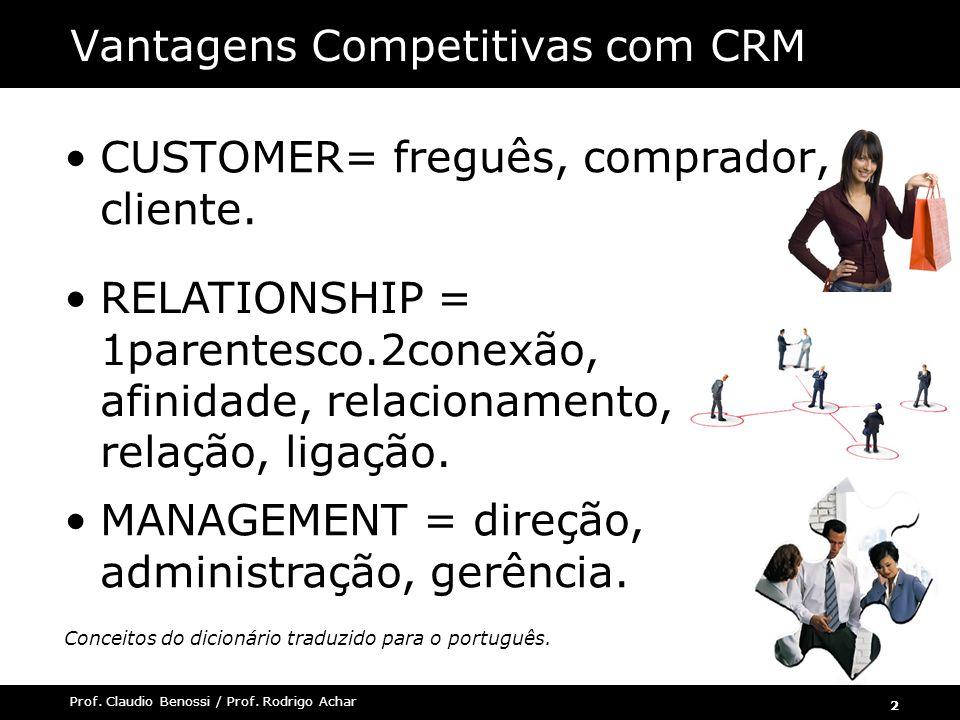 2 Prof. Claudio Benossi / Prof. Rodrigo Achar Vantagens Competitivas com CRM CUSTOMER= freguês, comprador, cliente. RELATIONSHIP = 1parentesco.2conexã