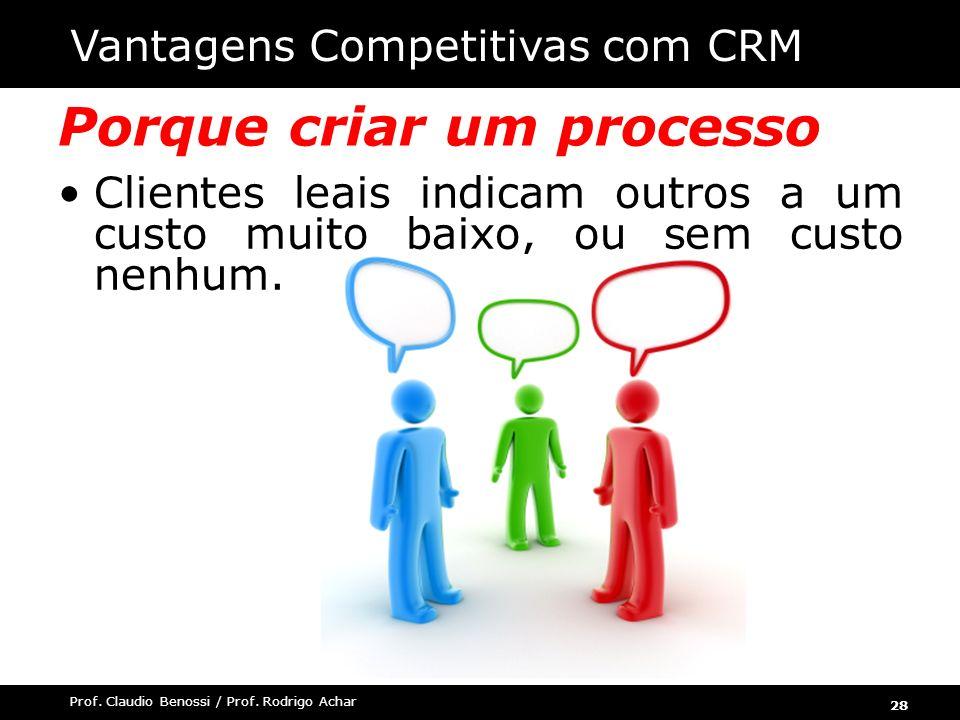 28 Prof. Claudio Benossi / Prof. Rodrigo Achar Porque criar um processo para CRM Clientes leais indicam outros a um custo muito baixo, ou sem custo ne