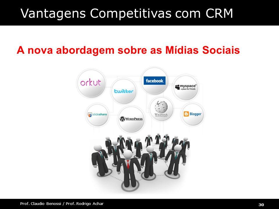 30 Prof. Claudio Benossi / Prof. Rodrigo Achar A nova abordagem sobre as Mídias Sociais Vantagens Competitivas com CRM