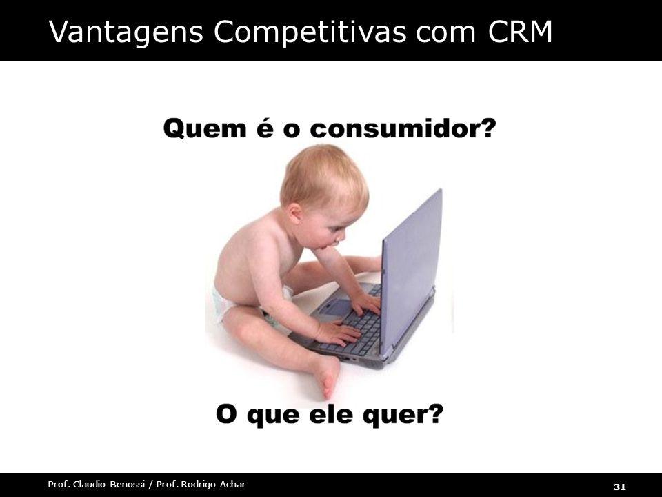 31 Prof. Claudio Benossi / Prof. Rodrigo Achar Vantagens Competitivas com CRM