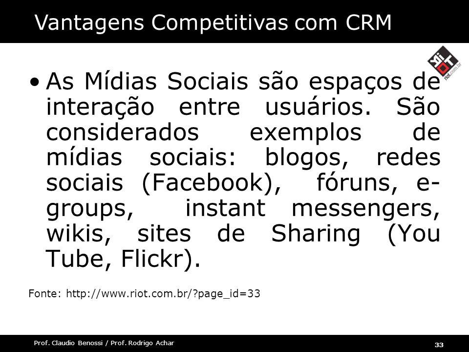 33 Prof. Claudio Benossi / Prof. Rodrigo Achar As Mídias Sociais são espaços de interação entre usuários. São considerados exemplos de mídias sociais: